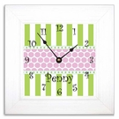 Happy Pink & Green Wall Clock with Wide Frame