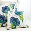 Happy Poppies Blue Small Square Pillow