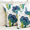 Happy Poppies Blue Square Pillow