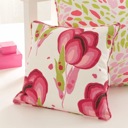 Happy Poppies Pink Small Square Pillow