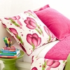 Happy Poppies Pink Square Pillow