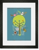 Happy Tree Love Nature Blue Framed Art Print