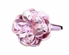 Hard Sequin Headband in Pale Pink Rose with Metallic Pale Pink Rose Flower