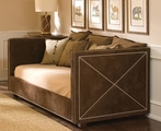 Harrison Twin Daybed in Arizona Chocolate Fabric with Polished Nickel Nailheads