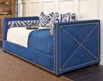 Harrison Twin Day Bed in Arizona Indigo Fabric with Polished Nickel Nailheads