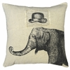 Hat and Elephant Linen Pillow