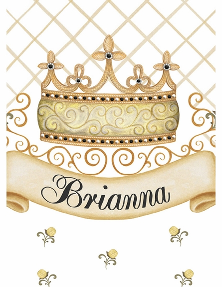 Haute Princess Crown Personalized Wall Hanging in Antico Black