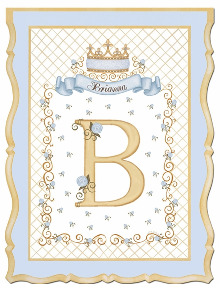 Haute Princess Crown Personalized Wall Hanging in French Blue