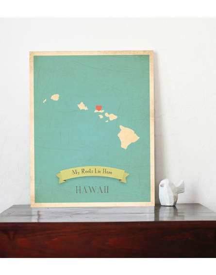 Hawaii My Roots State Map Art Print