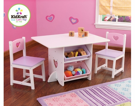 Heart Table & Chair Set With Pastel Bins