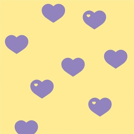 Hearts in Lavender and Butter Removable Wallpaper