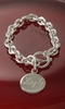 Heavy Link Sterling Silver Bracelet with Round Engraved Charm