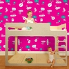Hello Conversations Removable Wallpaper in Giggles and Hugs Magenta