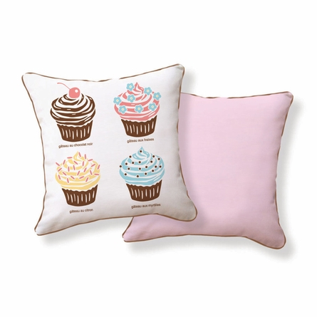 Hello Cupcake Reversible Throw Pillow