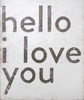 Hello I Love You Vintage Art Print on Wood