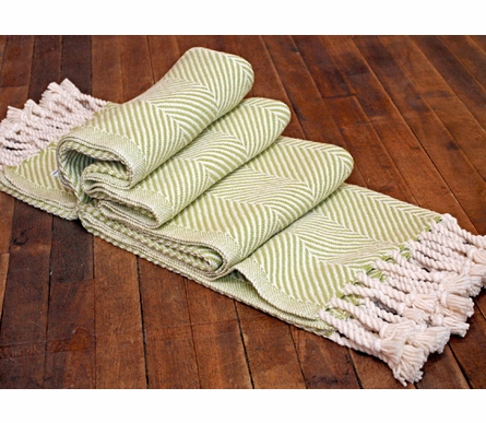 Herringbone Throw Blanket - Natural/Apple Green