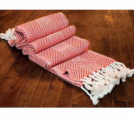 Herringbone Throw Blanket - Natural/Blaze