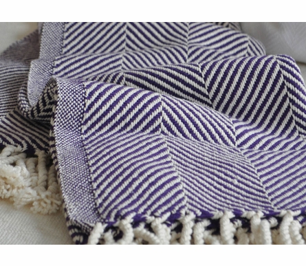 Herringbone Throw Blanket - Natural/Eggplant