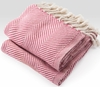 Herringbone Throw Blanket - Natural/Raspberry