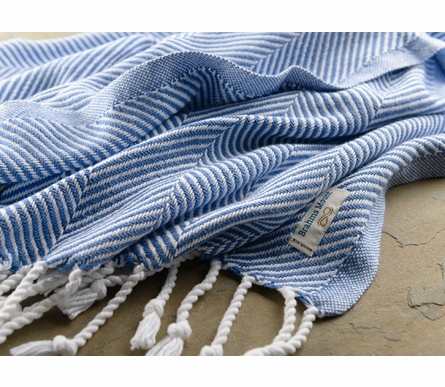 Herringbone Throw Blanket - White/Baja Blue