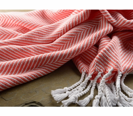 Herringbone Throw Blanket - White/Coral