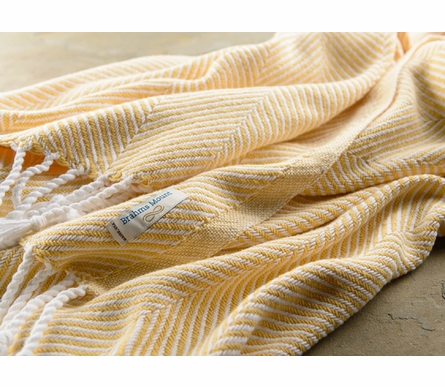 Herringbone Throw Blanket - White/Corn Silk