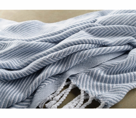 Herringbone Throw Blanket - White/Misty Blue