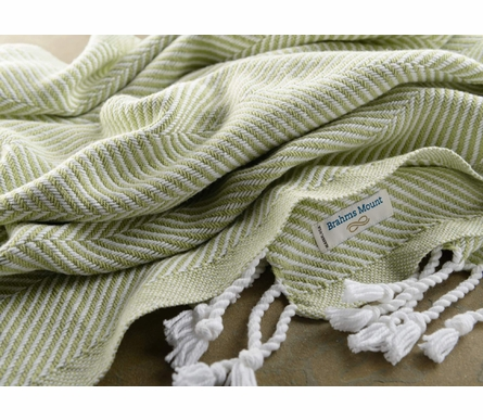 Herringbone Throw Blanket - White/Peridot