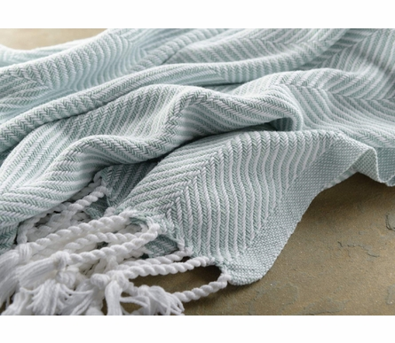 Herringbone Throw Blanket - White/Surf