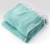 Herringbone Throw Blanket - White/Viridian