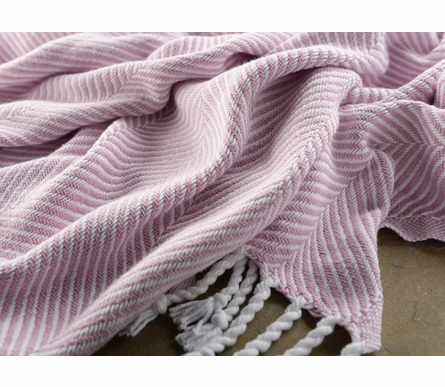 Herringbone Throw Blanket - White/Wisteria
