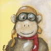 Hi Flyin' Monkey Pilot Canvas Reproduction