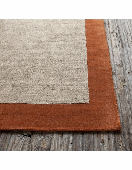 Hickory Border Rug in Orange