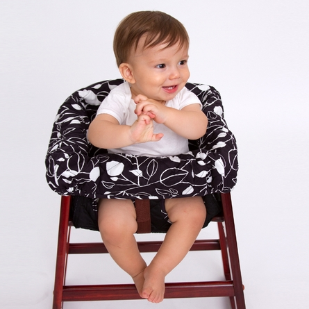 High Chair Cover in Black and White Leaf