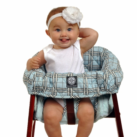 High Chair Cover in Blue Plaid
