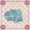 Hippo and Pink Flowers Canvas Wall Art