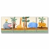 Hippo, Giraffe, Rhino and Tiger Oh My Wall Plaques - Set of 4