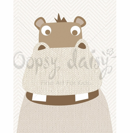 Hippo Grins Canvas Wall Art