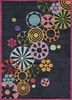 Hipster Flowers Rug in Black