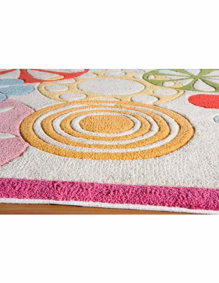 Hipster Flowers Rug in Ivory