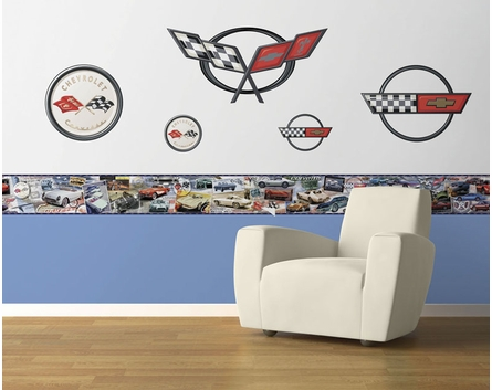 History of the Corvette Pre-Pasted Wallpaper Border