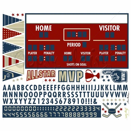 Hockey Athlete Scoreboard Peel & Place Wall stickers