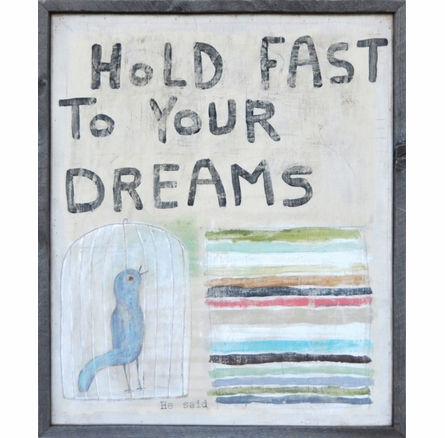Hold Fast to Your Dreams Vintage Framed Art Print