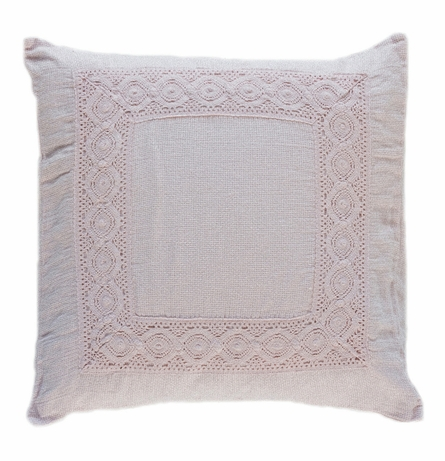 Homespun with Crochet Lace Throw Pillow