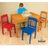 Honey Table and Colorful Chair Set