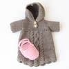 Hoody Cable Dress & Shoes Organic Hand-Knit Doll Clothes