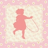 Hop Skip - Girl Canvas Wall Art