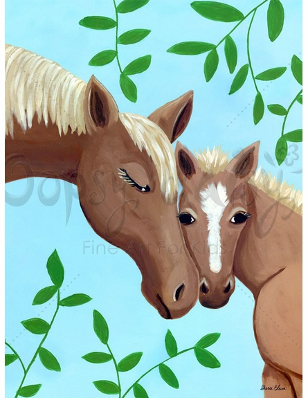 Horse Kisses Blue Canvas Wall Art