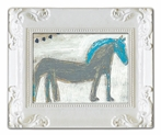 Horse with Blue Mane Decorative Framed Art Print