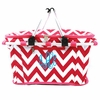 Hot Pink Chevron Monogram Insulated Picnic Cooler